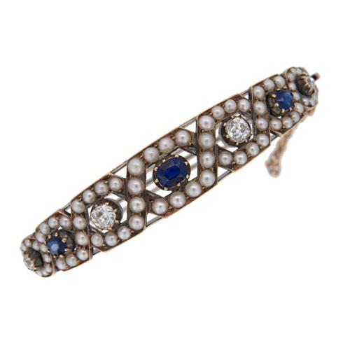 Victorian Sapphire and Diamond Bangle