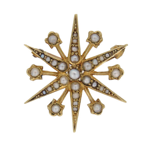 Pre Owned Gold Aquamarine And Diamond Panel Brooch