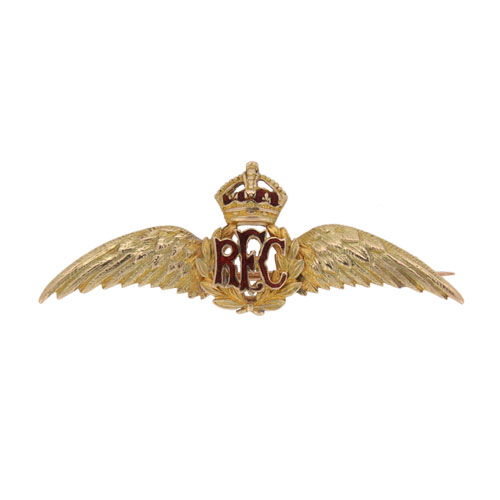 Edwardian Gold Royal Flying Corp Wings Brooch