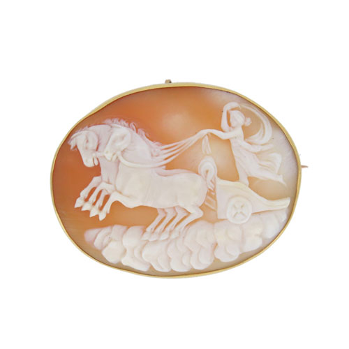 Victorian Gold Shell Cameo Brooch