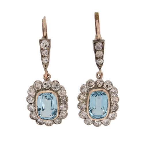 Art Deco Aquamarine and Diamond Drop Cluster Earrings