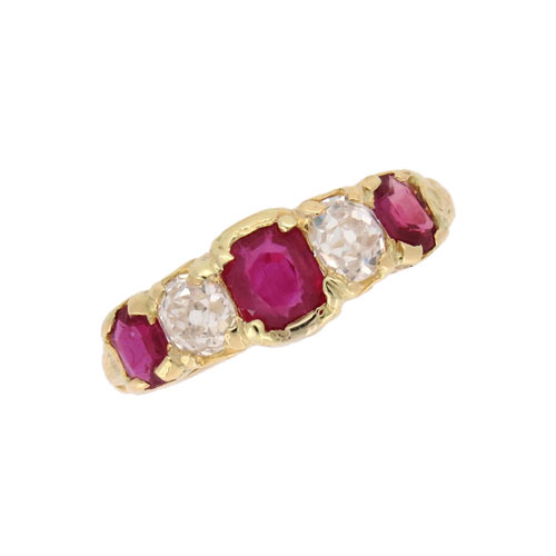 Victorian Ruby and Diamond Five Stone Half Hoop Ring