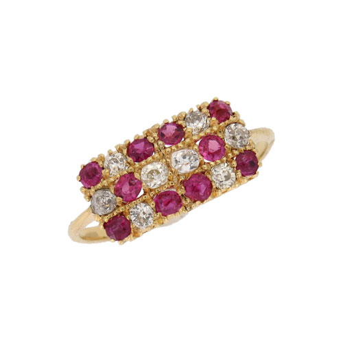 Victorian Ruby and Diamond Three Row Half Hoop Ring