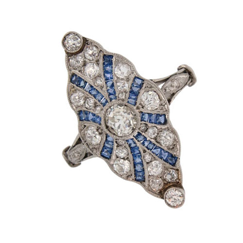 Edwardian Sapphire and Diamond Marquise Shaped Cluster Ring