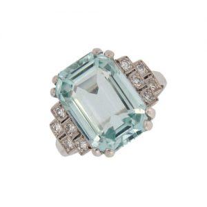 Retro Aquamarine and Diamond Fancy Cluster Ring