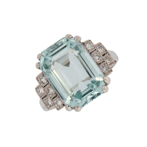 Retro Aquamarine and Diamond Fancy Cluster Ring