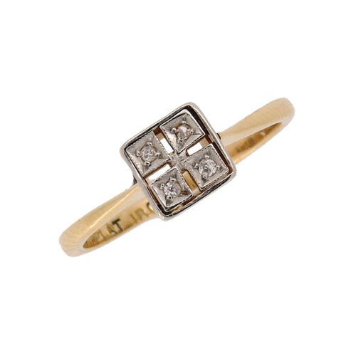 Art Deco Pretty Square Shaped Diamond Cluster Ring