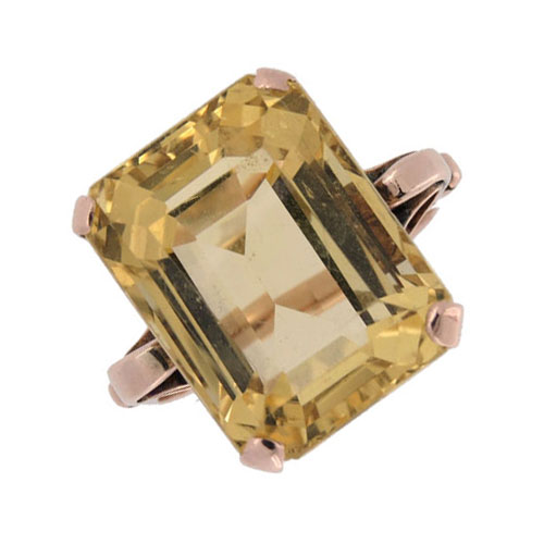 Retro Fabulous Citrene Solitaire Cocktail Ring