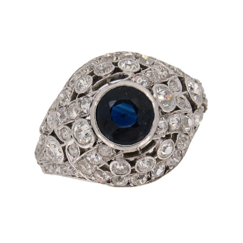 Art Deco Stunning Sapphire and Diamond Ring