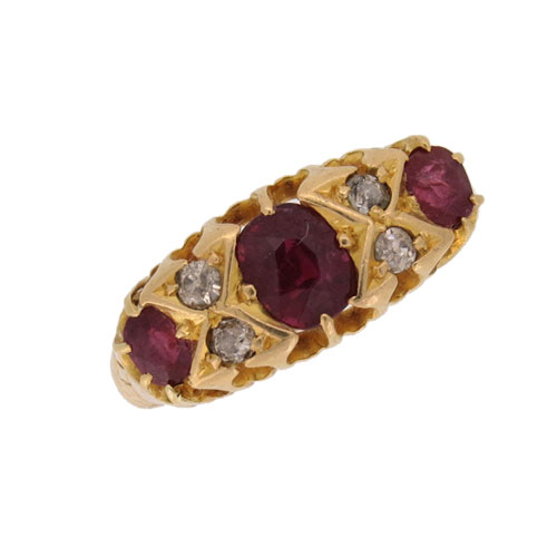 Edwardian Classic Ruby and Diamond Half Hoop Ring