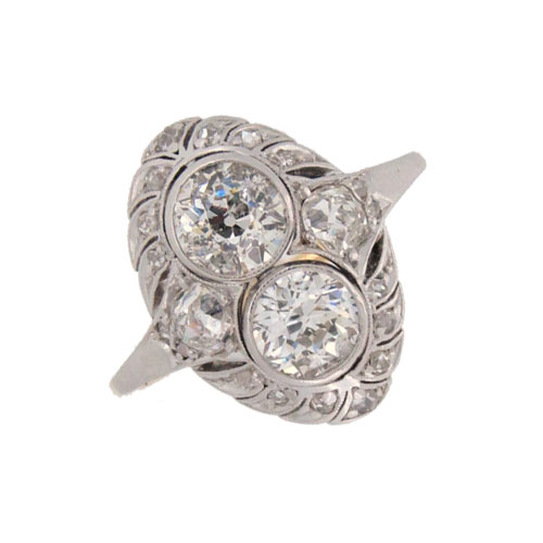 Edwardian Diamond Finger Line Cluster Ring