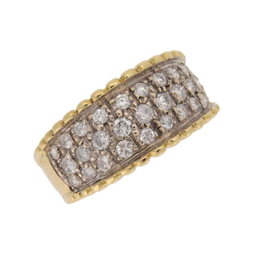 Diamond Three Row Half Hoop Ring