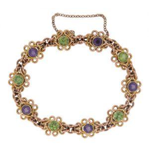 Edwardian Peridot And Amethyst Gold Bracelet