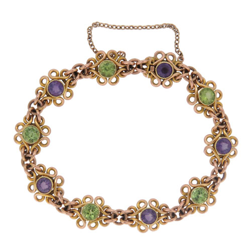 Edwardian Peridot And Amethyst Gold Bracelet