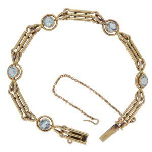 Edwardian Aquamarine Gold Bracelet