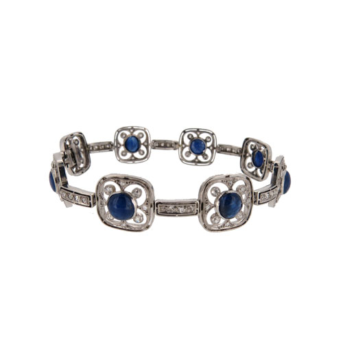 Art Deco Sapphire And Diamond Cocktail Bracelet