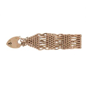 Victorian Classic Gold Gate link Bracelet With Padlock