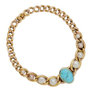 Victorian Unusual Gold Turquoise and Pearl Bracelet