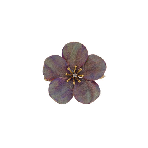 Retro Gold Enamelled Pansy Brooch