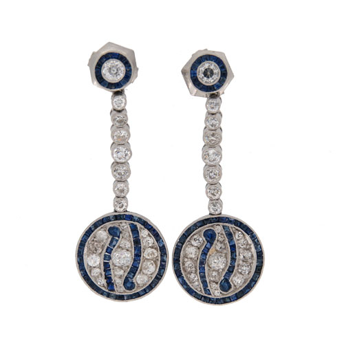 Art Deco Sapphire And Diamond Drop Cluster Earrings