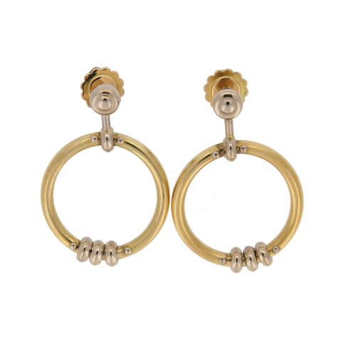 Pre Owned Bi Coloured Knocker Gold Drop Earrings
