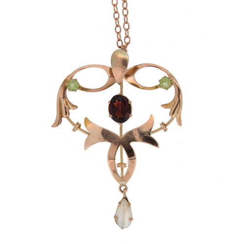 Art Nouveau Gold Garnet Peridot And Pearl Pendant