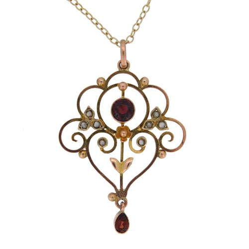 Victorian Gold Garnet And Pearl Pendant