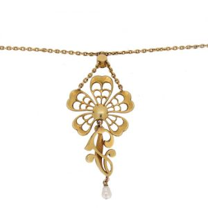 Victorian Gold Pearl Necklet