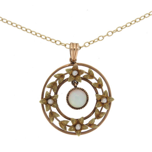 Victorian Gold Opal And Pearl Pendant