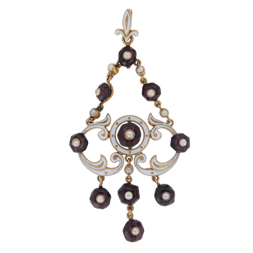 Art Nouveau Garnet Pearl And Enamel Pendant