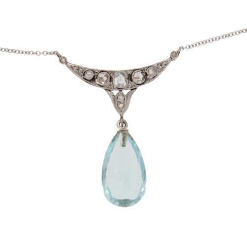 Art Deco Aquamarine And Diamond Pendant