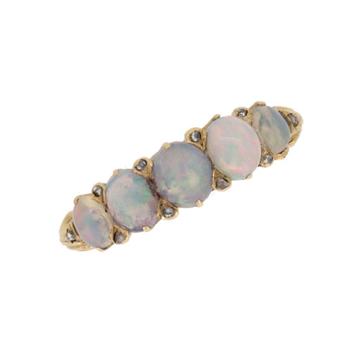 Victorian Opal and Diamond Half Hoop Ring