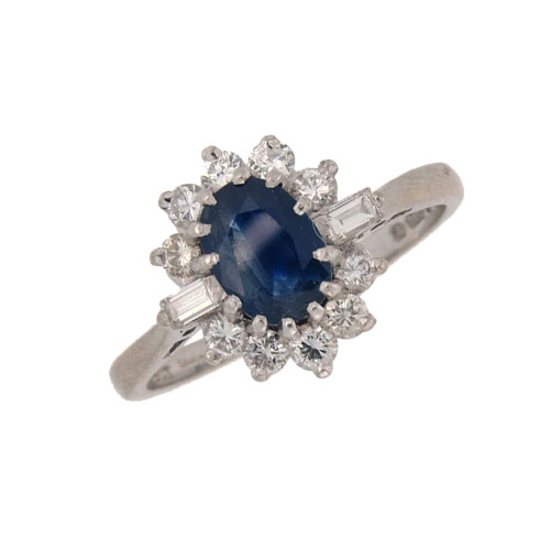 Pre Owned Sapphire and Diamond Cluster Ring