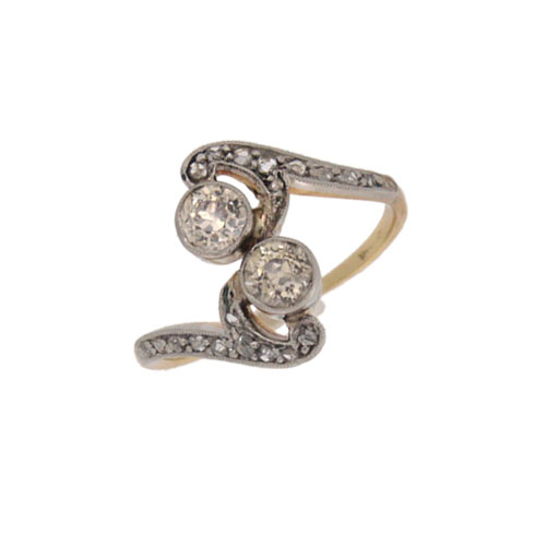 Edwardian Diamond Two Stone twist Ring