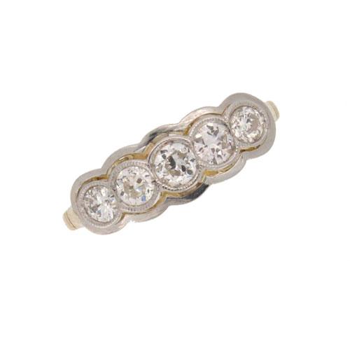 Art Deco Diamond Half Hoop Ring