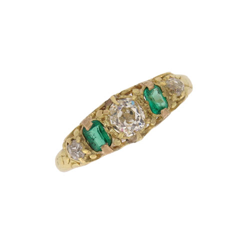 Victorian Emerald and Diamond Half Hoop Ring