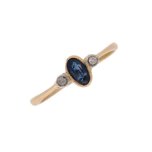 Art Deco Sapphire and Diamond Three Stone Ring