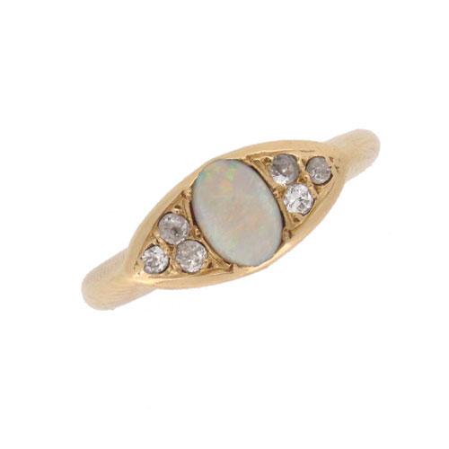 Victorian Opal and Diamond Fancy Cluster Ring