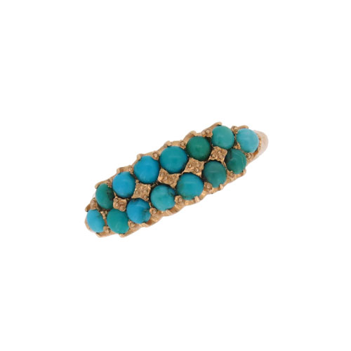 Victorian Turquoise Two Row Half Hoop Ring