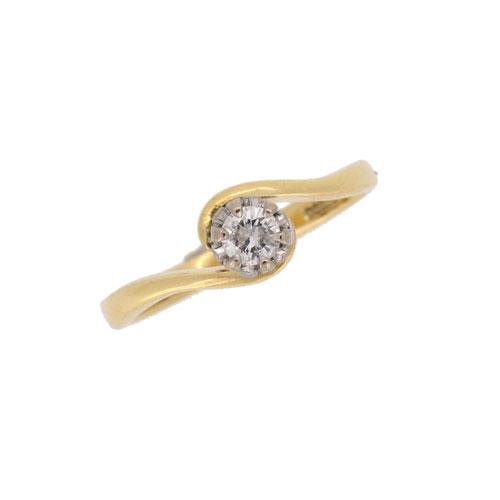 Pre Owned Diamond Solitaire Crossover Ring