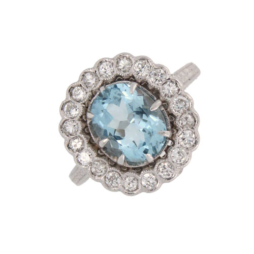 Pre Owned Aquamarine and Diamond Cluster Ring