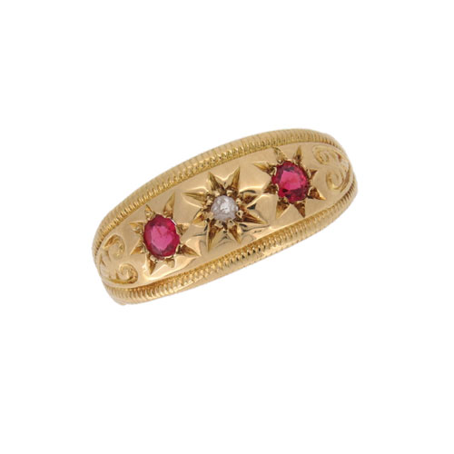 Edwardian Ruby and Diamond Gypsy Ring