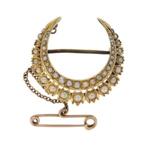 Victorian Gold Pearl Set Crescent Brooch