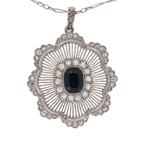 Edwardian Sapphire and Diamond Platinum Pendant