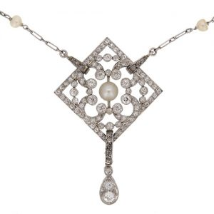 Edwardian Pearl and Diamond Platinum Pendant
