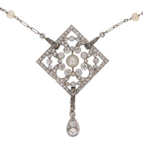 Edwardian Pearl and Diamond Platinum Pendant