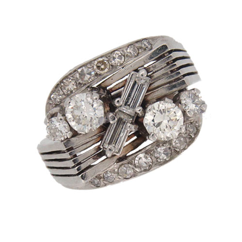 Retro Diamond and Platinum Cocktail Ring