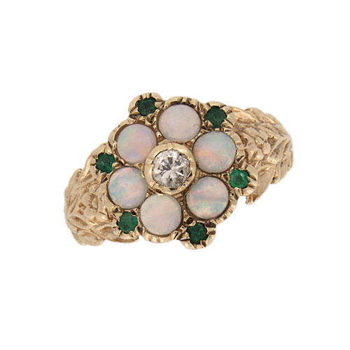 Pre Owned Emerald Opal and Diamond Cluster Ring