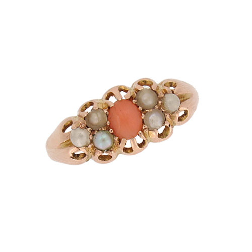 Victorian Coral and Pearl Half Hoop Ring