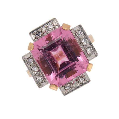 Retro Pink Tourmaline and Diamond Fancy Cocktail Ring